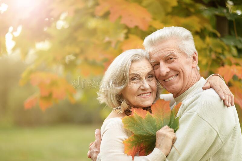 Portrait of beautiful senior couple embracing in the park royalty free stock photography