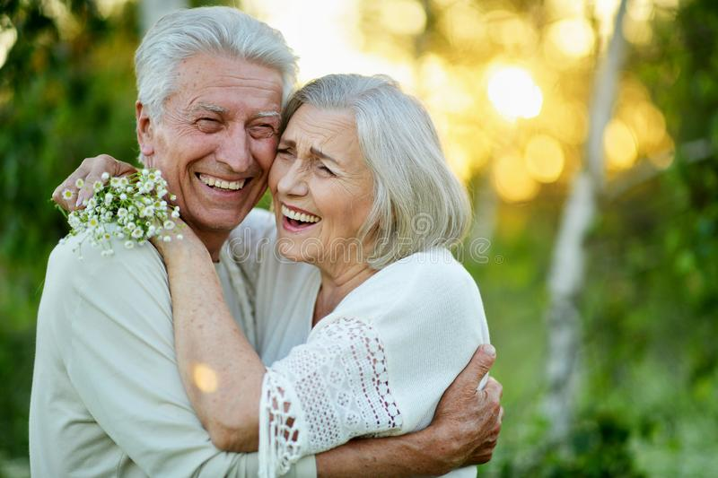 Portrait of beautiful senior couple in the park royalty free stock image