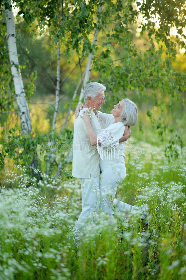 Portrait of beautiful senior couple in the park royalty free stock photo
