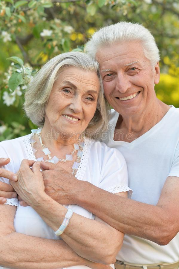 Portrait of beautiful senior couple posing in the park royalty free stock image