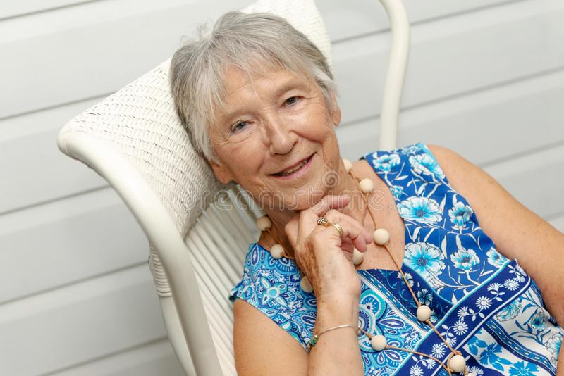 Portrait of beautiful senior woman with grey hair royalty free stock photos