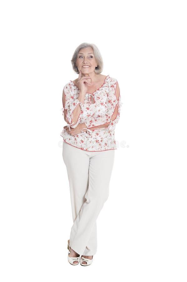 Portrait of beautiful senior woman posing stock images