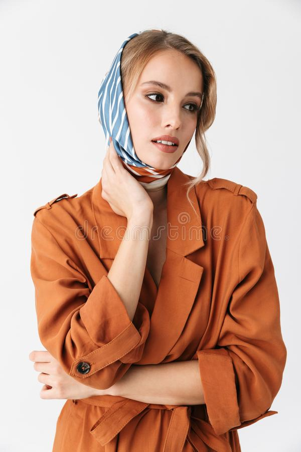 Beautiful Displeased Young Woman Wearing Silk Scarf