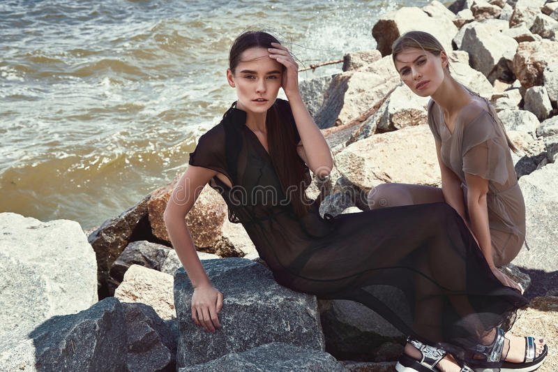 Portrait of beautiful perfect lady fashion model stock photography