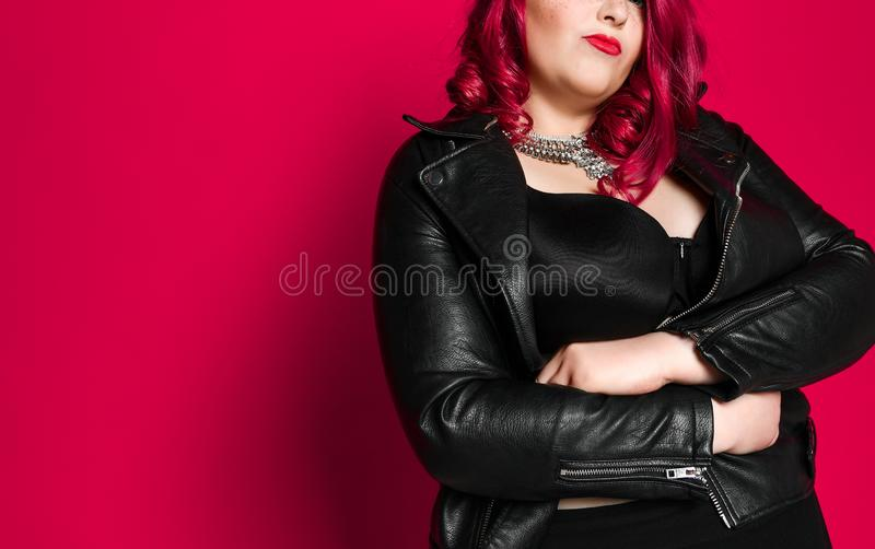 Portrait of a beautiful sexy woman in black leather jacket stock image