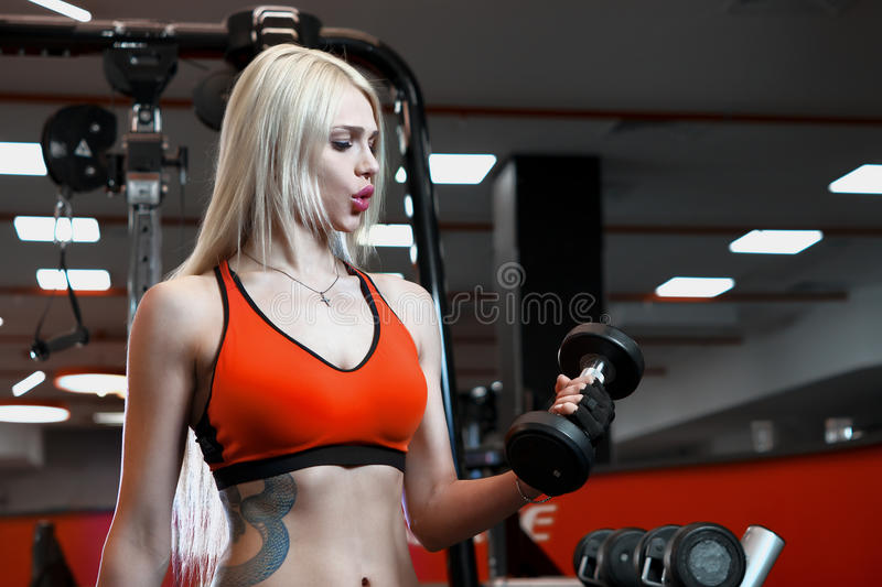 Portrait of a beautiful woman dressed in sports clothes in the gym royalty free stock photography