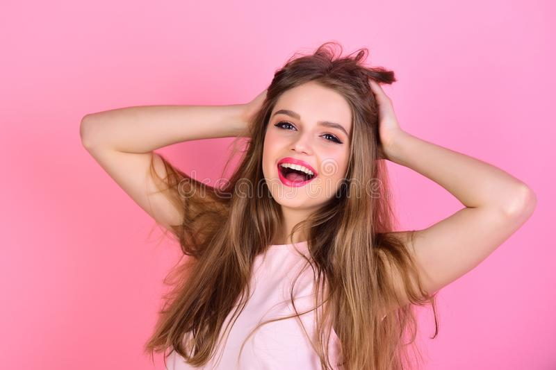 Portrait of the beautiful woman with long hair. Fashion model with straight hairstyle. royalty free stock images