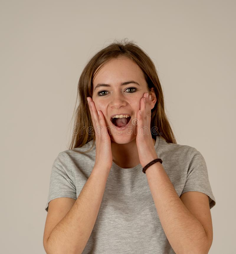 Close up portrait of surprised and happy teenager girl. In facial expressions royalty free stock photo