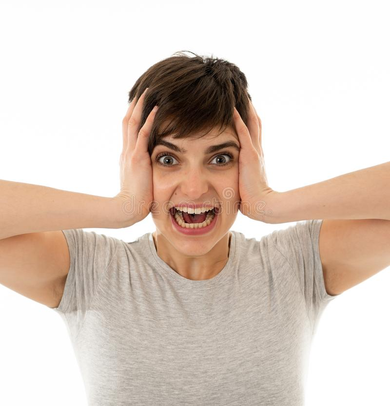 Close up portrait of surprised and happy woman celebrating victory and wining lottery stock images