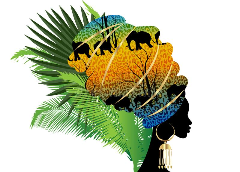 Portrait beautiful silhouette African woman in traditional turban, Kente head wrap Afro, Traditional dashiki printing Batik style. Tiger pattern with cute stock illustration
