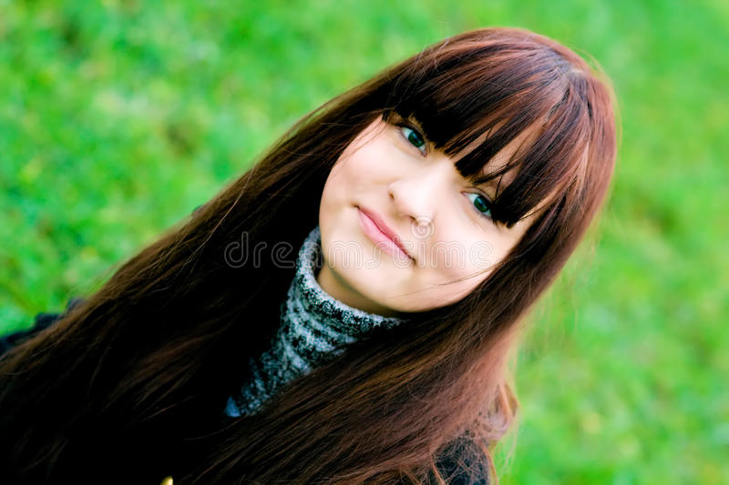 Portrait of the beautiful smiling girl stock image