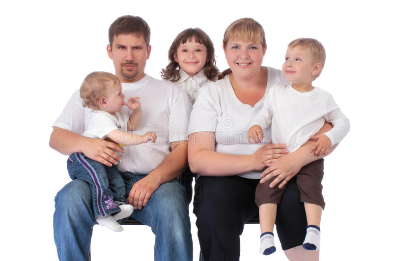 Portrait of beautiful smiling happy family of five. Isolated over a white background stock images
