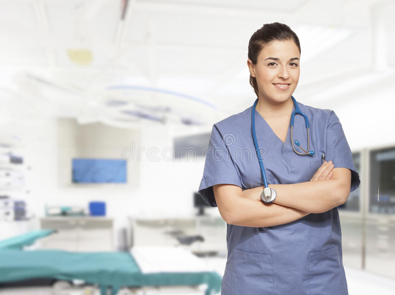 Portrait of a beautiful smiling nurse stock image