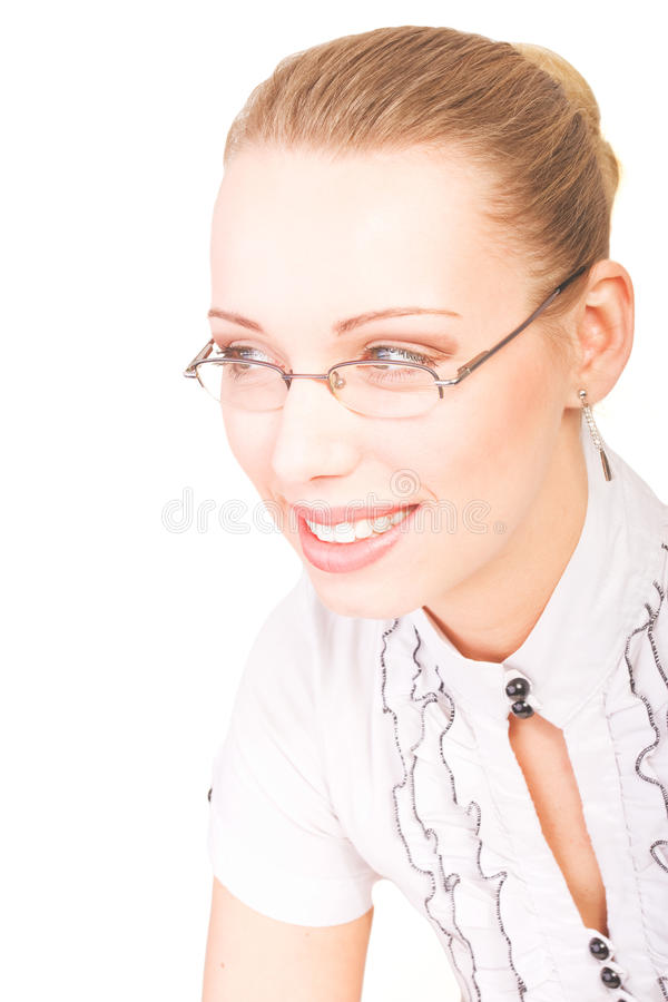 Download Portrait Of Beautiful Smiling Woman With Glasses Stock Image - Image: 22290201
