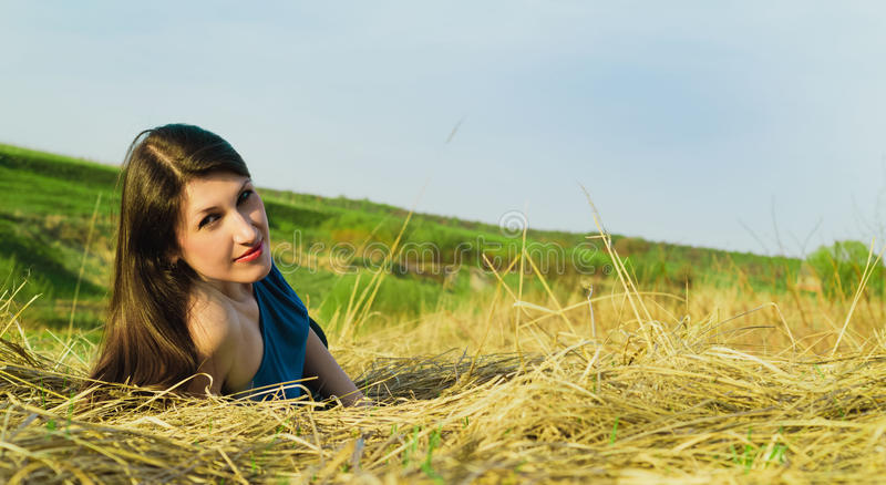 Portrait of beautiful smiling woman on nature. stock image