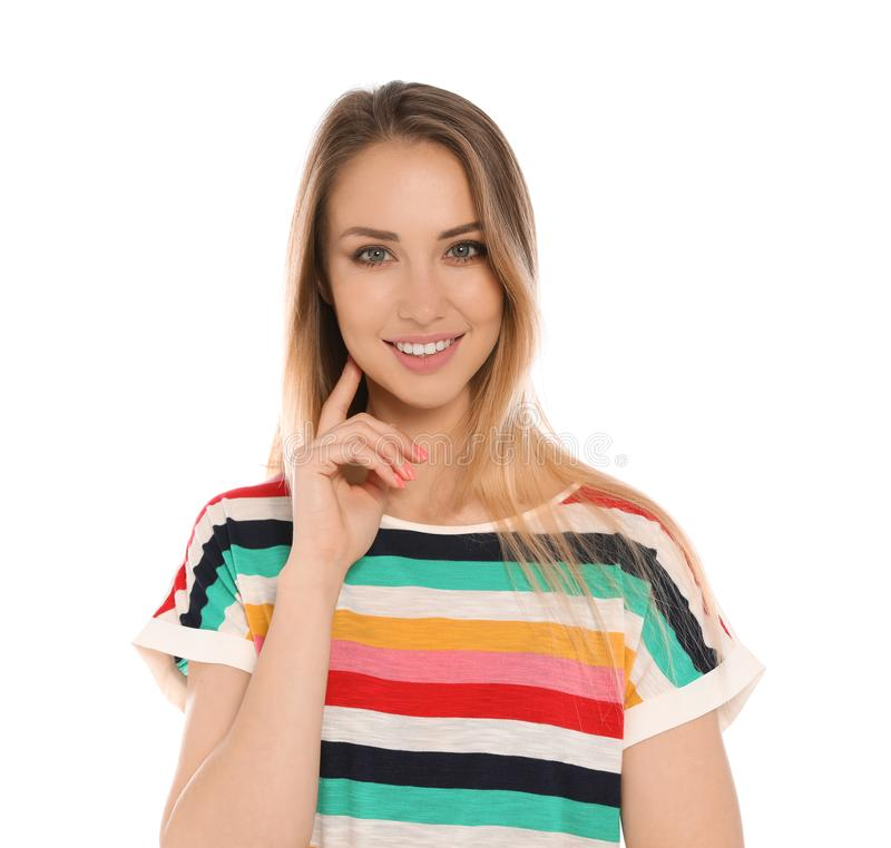 Portrait of beautiful smiling woman royalty free stock image