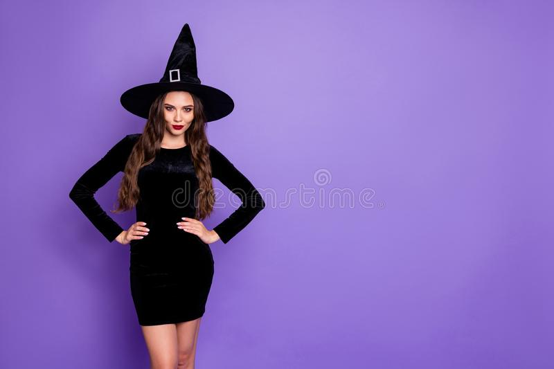Portrait of beautiful spooky creepy gothic woman witch short mini dress want conjure say spells on october theme party. Portrait of beautiful spooky creepy royalty free stock images