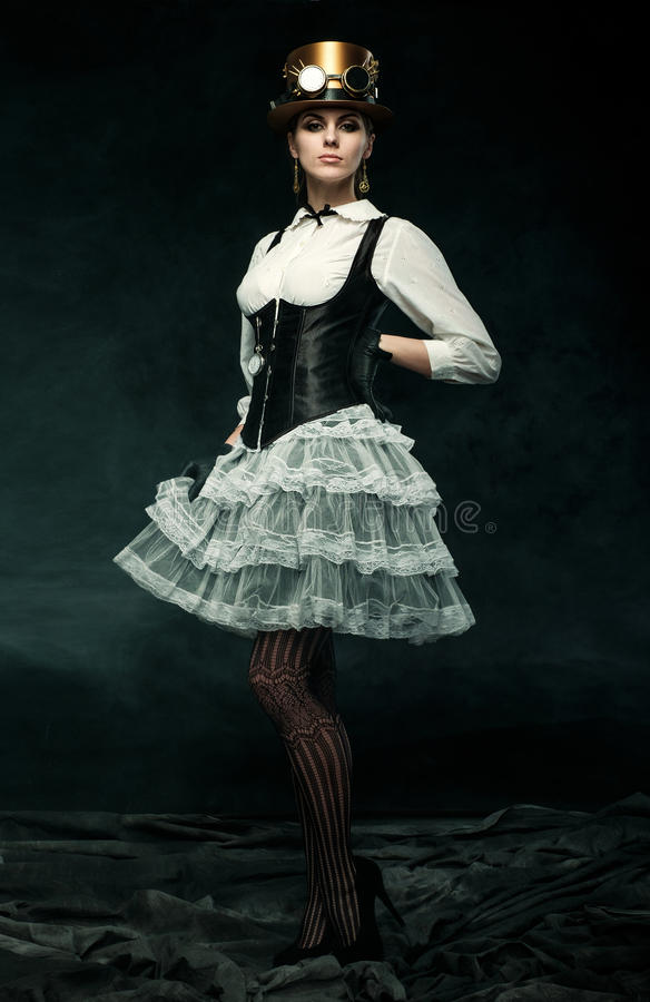 Portrait of a beautiful steampunk girl royalty free stock photo