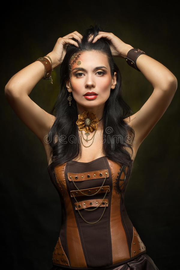 Portrait of a beautiful steampunk woman stock images