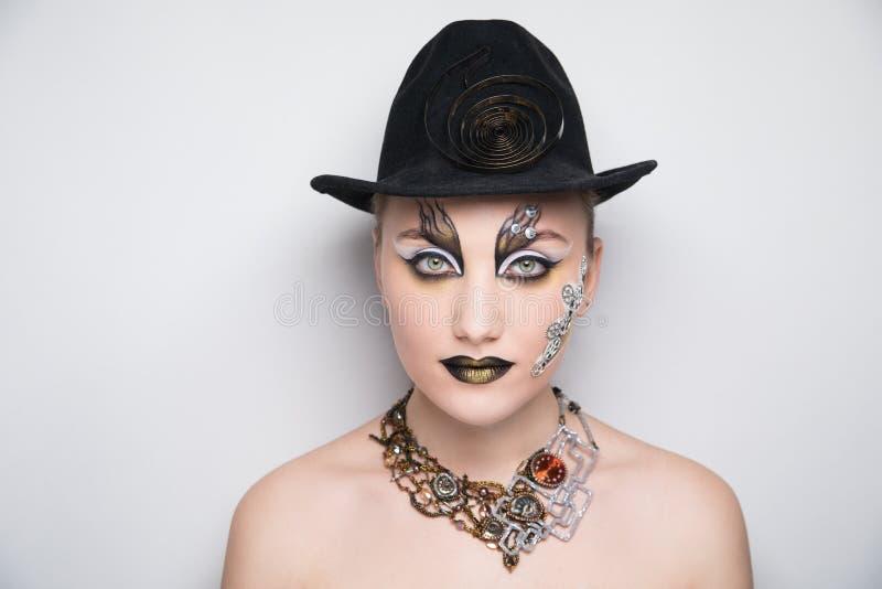 Woman steam punk make up stock photos