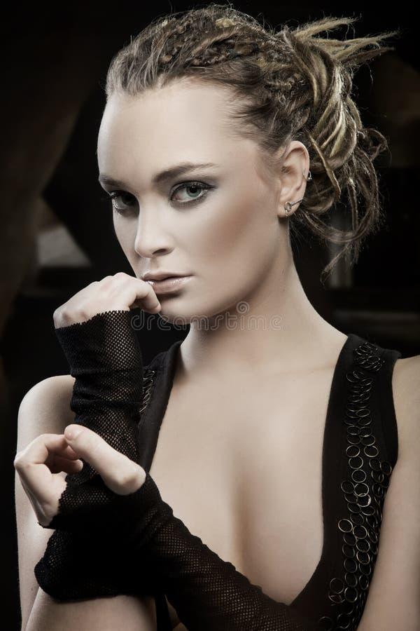 Portrait of beautiful stylish lady. royalty free stock images