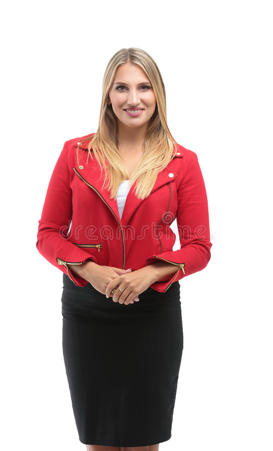 Portrait of beautiful successful businesswoman isolated on whi stock photography