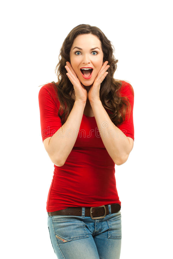 Portrait of beautiful surprised woman royalty free stock images