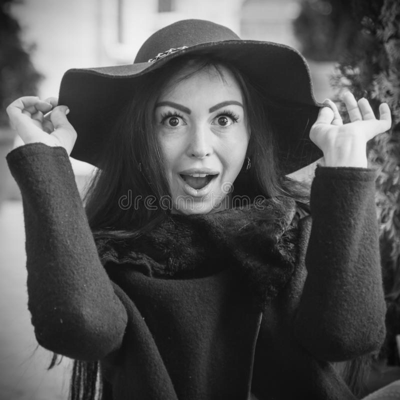 Portrait of beautiful surprised young woman Body language, gest royalty free stock images