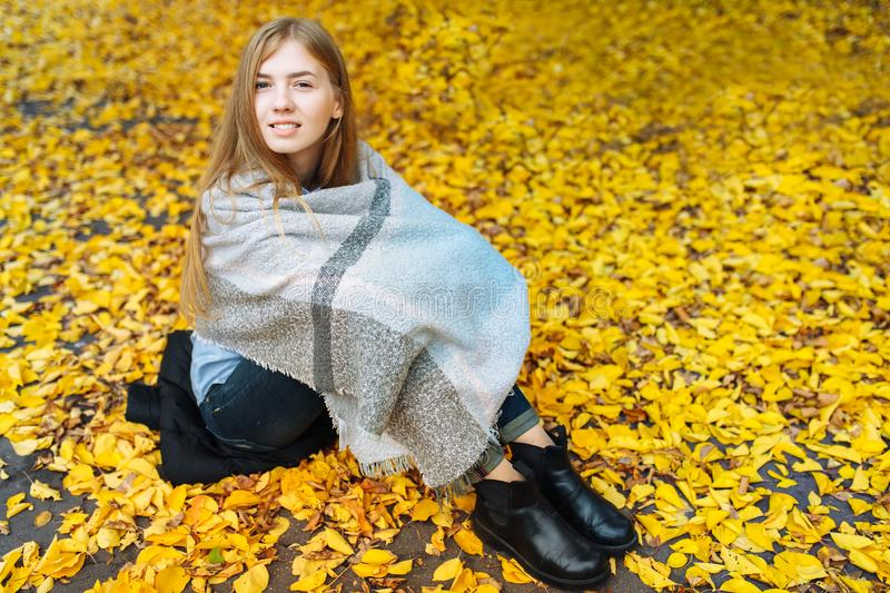 Portrait of a beautiful, sweet, cheerful girl who walks in the Park in autumn season stock photo