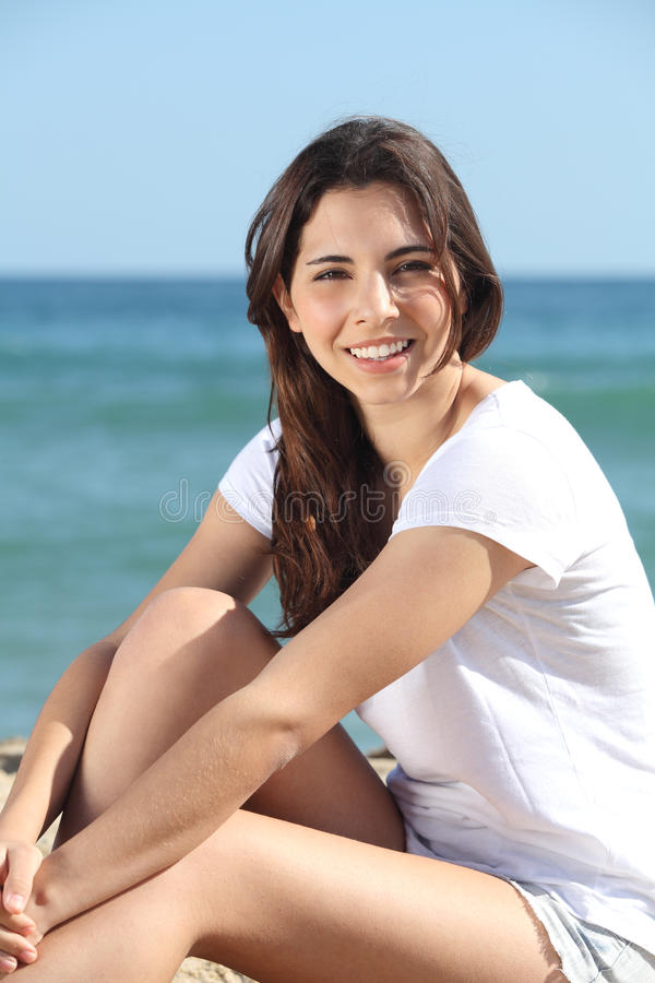 Portrait Of A Beautiful Teen On The Beach Stock Image