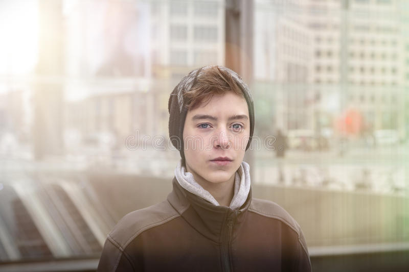 Portrait of a beautiful teenage boy stock images