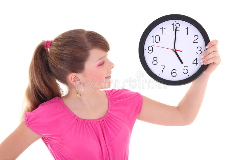 Download Portrait Of Beautiful Teenage Girl With Clock Isolated Over Whit Stock Image - Image: 28937355