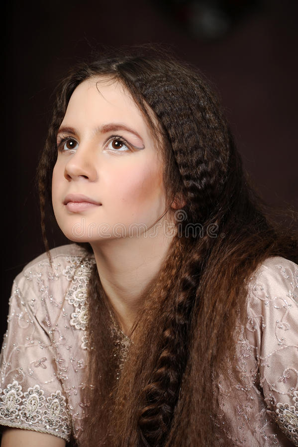 Portrait of a beautiful teenager girl. With long hair royalty free stock images