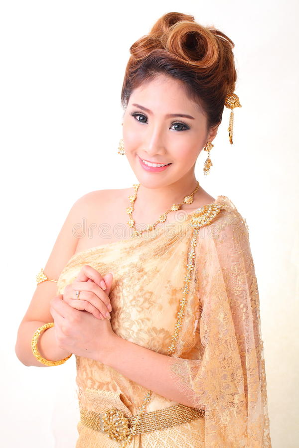 Download Portrait Beautiful Thai Woman In Vintage Traditional Costum Stock Photo