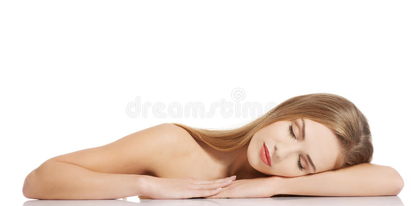 Portrait of beautiful topless caucasian woman. stock photos