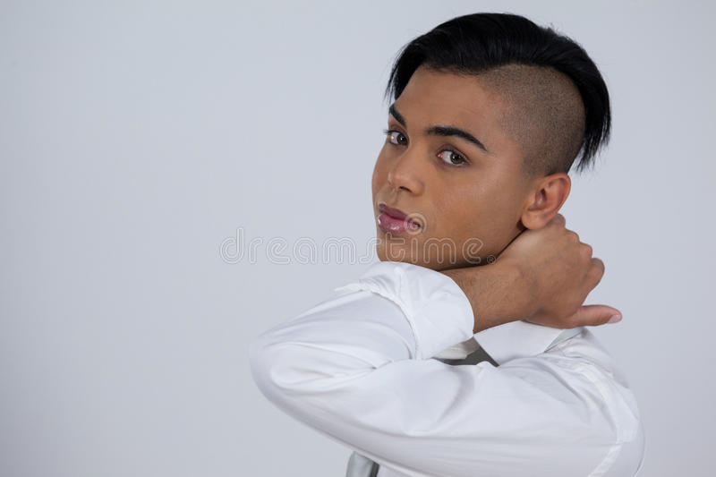 Portrait of beautiful transgender woman royalty free stock images