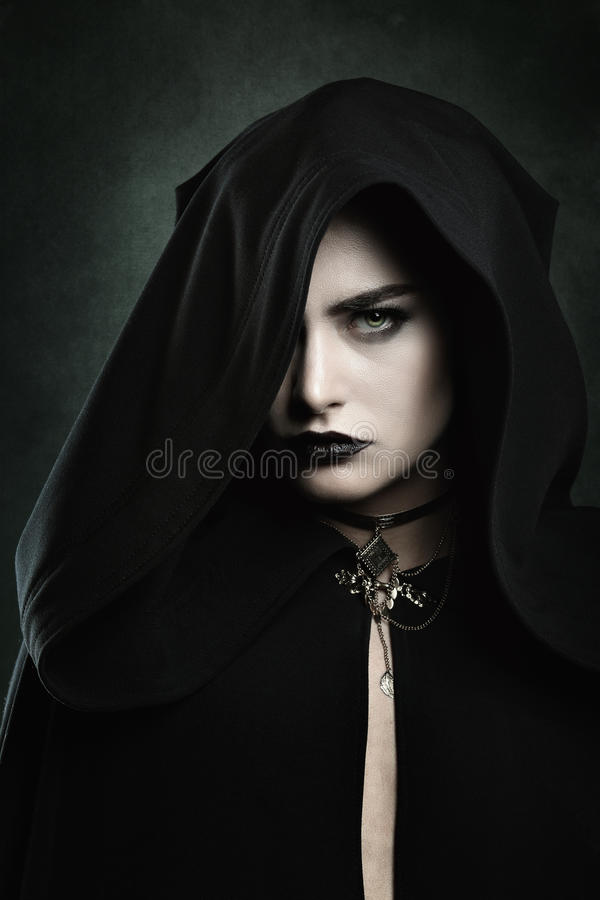 Portrait of a beautiful vampire woman stock image
