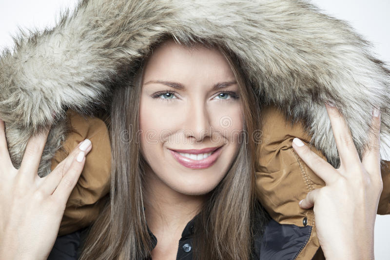 Portrait Of A Beautiful Winter Girl Isolated On White Royalty Free Stock Photo