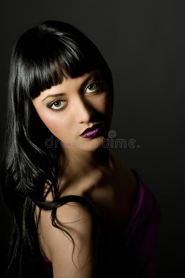 Woman Fashion Model Make Up. Girl Beauty Portrait, Black Background royalty free stock photography