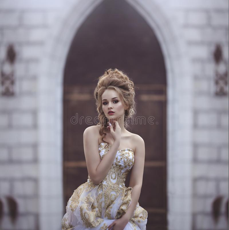 Portrait of a Beautiful woman in an ancient medieval dress, with a high complex historical hairstyle near the walls of stock image