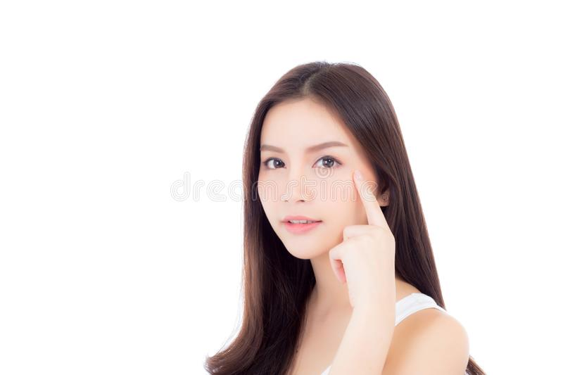 Portrait of beautiful woman asian makeup of cosmetic, girl hand. Touch cheek and smile attractive, face of beauty perfect with wellness isolated on white royalty free stock photo