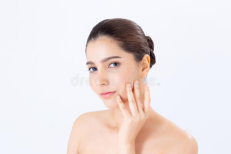 Portrait of beautiful woman asian makeup of cosmetic, girl hand touch cheek and smile attractive stock photo