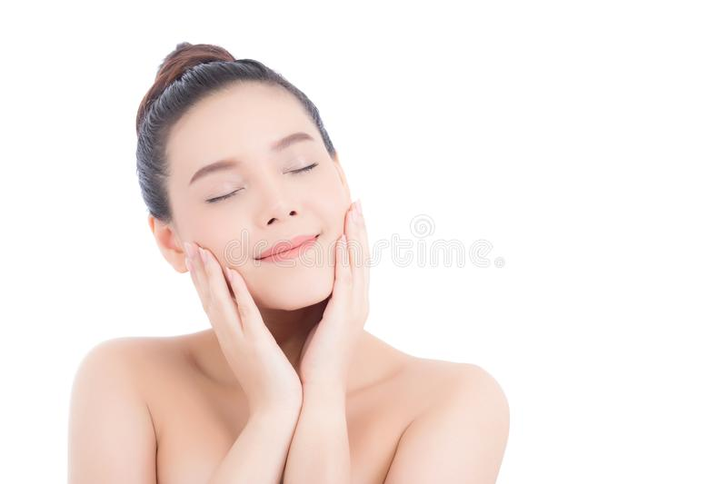 Portrait of beautiful woman asian makeup of cosmetic, girl hand touch cheek and smile attractive. Face of beauty perfect with wellness isolated on white royalty free stock image