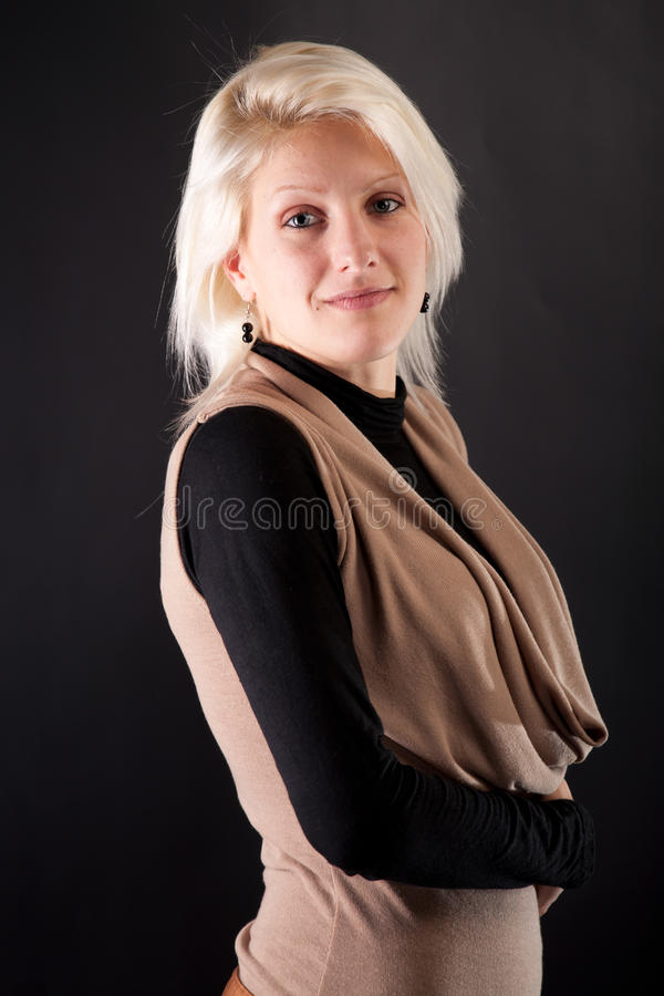 Download Portrait Of A Beautiful Woman On A Black Backgroun Stock Image - Image: 22675505