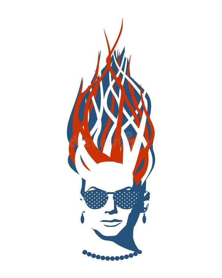 Portrait of beautiful woman in black sunglasses. vector illustration