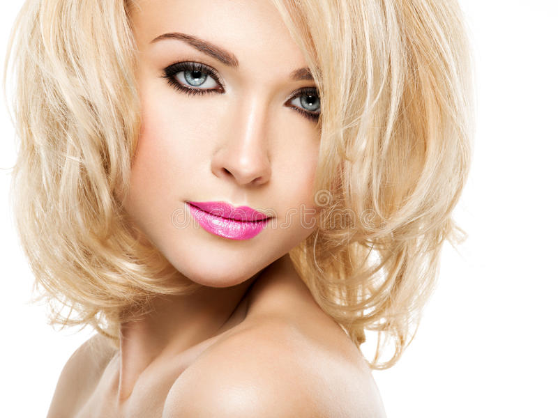 Portrait of beautiful woman with blond hair. face of fashion stock image