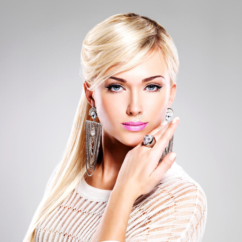 Beautiful woman with fashion makeup and long white hairs stock photos