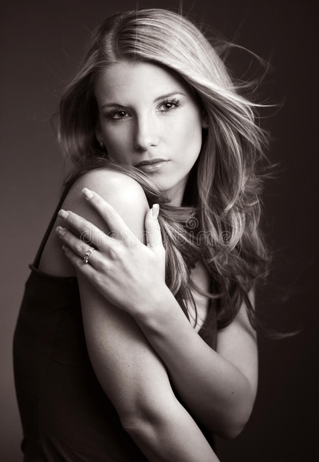 Download Portrait Of Beautiful Woman-  BW Royalty Free Stock Image - Image: 21993546