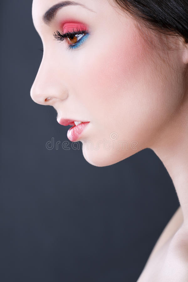 Portrait of beautiful woman. Close up stock image