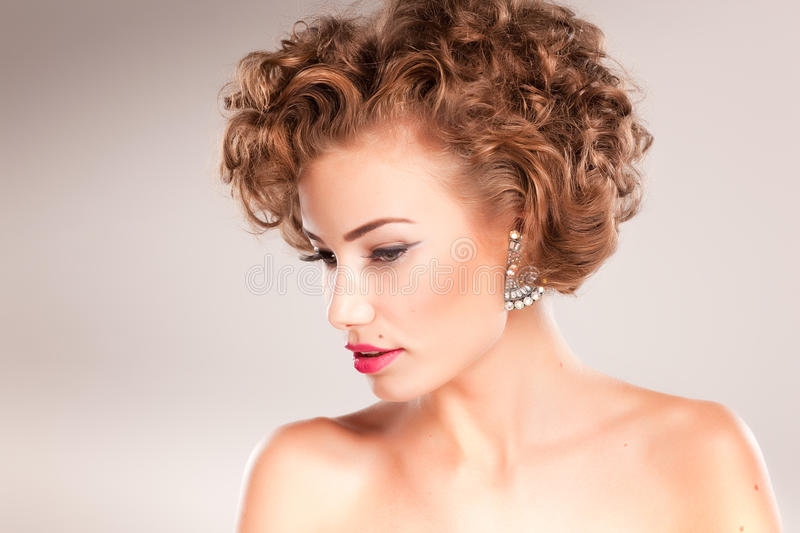 Download Portrait Of Beautiful Woman With Curly Hair Royalty Free Stock Photography - Image: 23383767